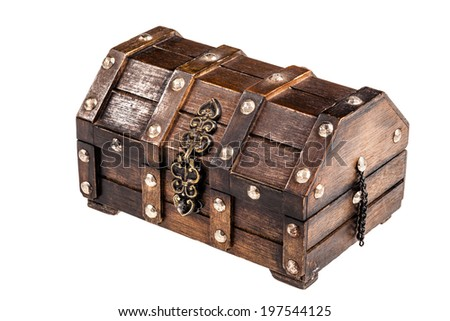 an ancient wooden chest isolated over a white background