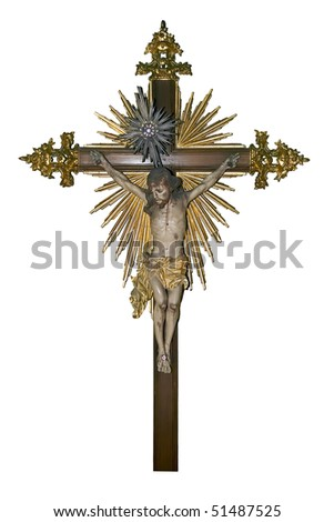 An ancient wooden gold painted crucifix over white background. - stock photo