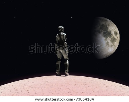 An android woman standing on a planet and gazing out in space. Stars and a planet in the background.