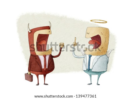 an angel businessman and demon businessman take a decision - stock photo