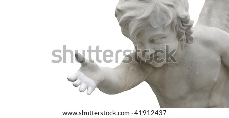 an angel giving a helping hand isolated on white with copy-space - stock photo