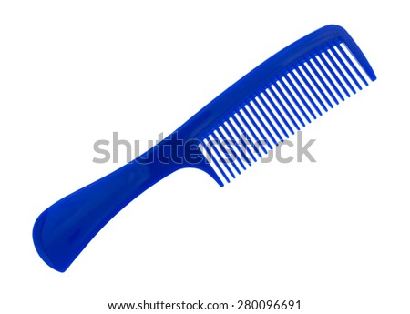 An angle view of a large wide tooth comb with handle on a white background. - stock photo