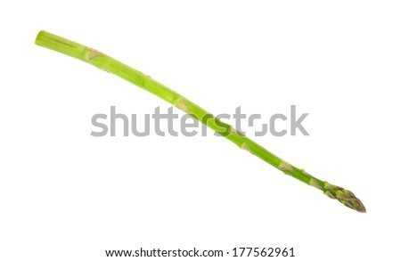 An angle view of a single stalk of asparagus on a white background.