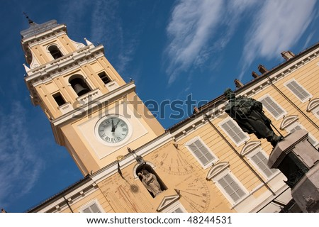 An angled shot of the Governor's Palace, Piazza Garibaldi, Parma, Italy, with a blue sky - stock photo