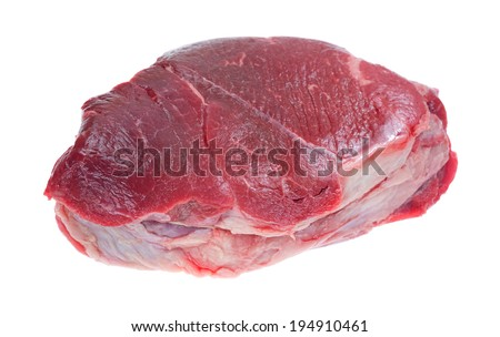 An angled side view of a beef chuck boneless roast on a white background. - stock photo
