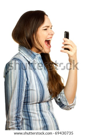 An angry and very frustrated young business woman yelling at her phone. Isolated over white. - stock photo