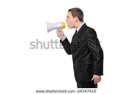 An angry businessman announcing via megaphone isolated against white background