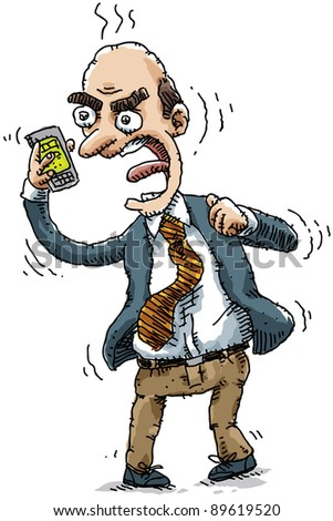 An angry businessman yells into his mobile phone. - stock photo