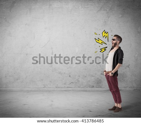 An angry hipster guy in casual clothes shouting heavily with drawn thunder sign illustration concept - stock photo