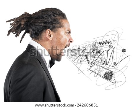An angry man screams berating his employees - stock photo