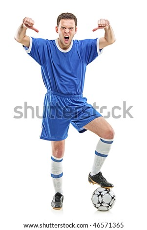 An angry soccer player shouting and giving thumbs down isolated on white background