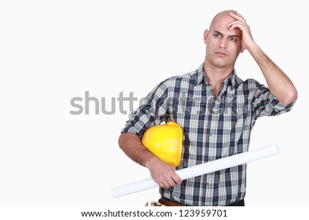 An angry tradesman - stock photo