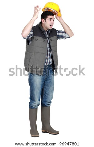 An angry tradesman - stock photo