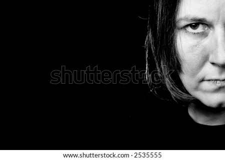 an angry woman - stock photo