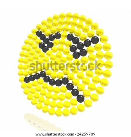 An angry yellow smilie from spheres