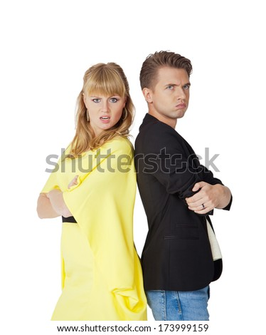 an angry young couple on a white background