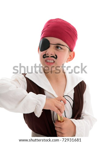 An angry young pirate with eye patch holds a telescope.  White background.