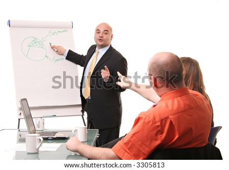 An animated flipchart business meeting isolated on a white background. - stock photo