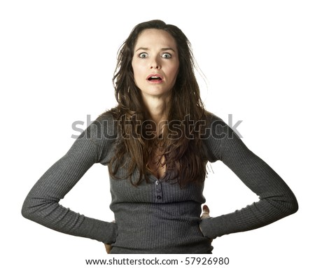 An annoyed and irritated woman - stock photo