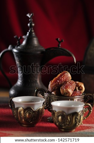 An antique, arabic coffee set. - stock photo