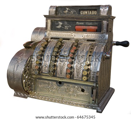 An antique cash register isolated on white. - stock photo