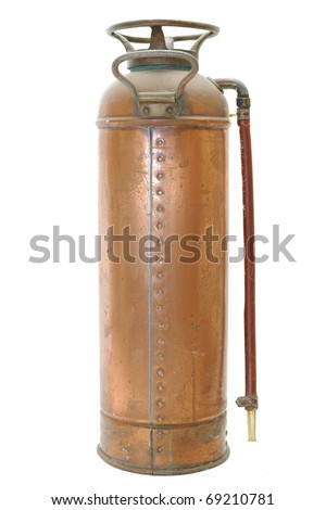 An antique fire extinguisher isolated on a white background. - stock photo