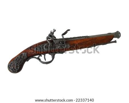 An antique flintlock pistol - stock photo