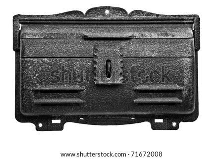 An antique mailbox isolated on white background. - stock photo