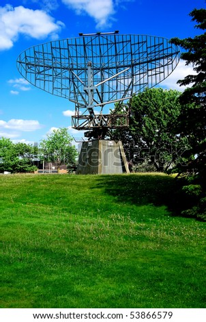 An antique, obsolete military Radar dish type AN/FPS-508 or AN/FPS-20A - stock photo