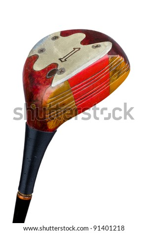 An antique, persimmon golf driver, isolated on a white background. Includes working path. - stock photo