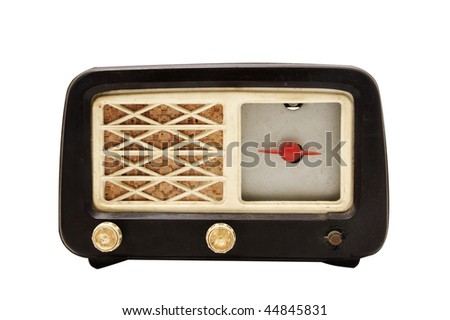 an antique radio receptor isolated on a white background - stock photo