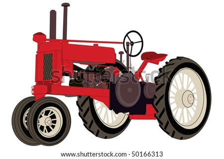 An antique red farm tractor.