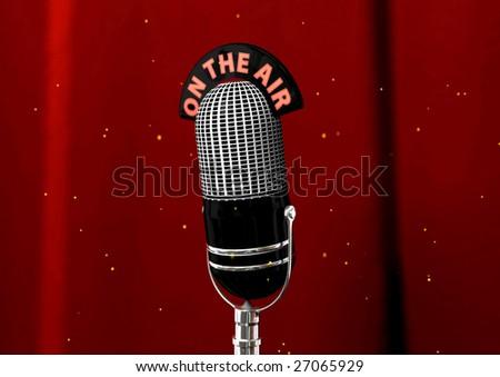 An antique retro microphone. - stock photo