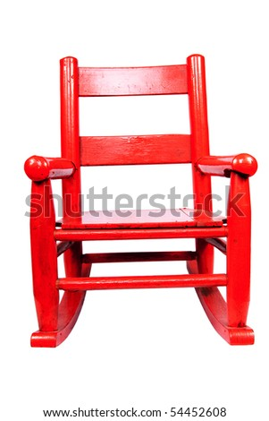 an antique rocking chair for a child - stock photo