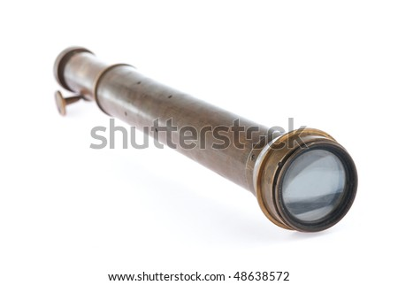 An antique spyglass isolated on a white background - stock photo