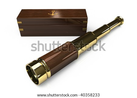 An antique style spyglass or telescope with it's wooden box on white - stock photo
