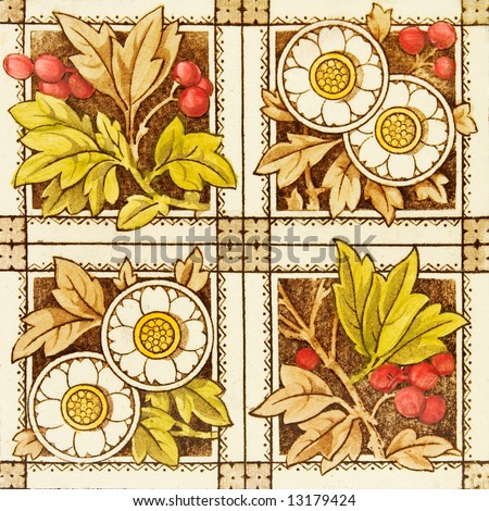 An antique tile in the Aesthetic taste dating to the late 19th century c1880 - stock photo
