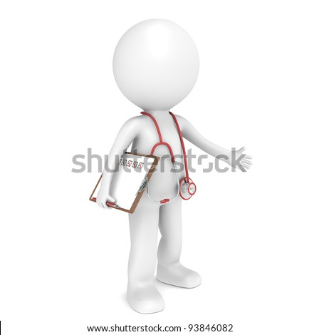 An apple a day. 3D little human character The Doctor, holding an Apple. People series. - stock photo