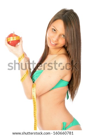 An apple a day keeps the doctor round about (old Italian saying) - stock photo