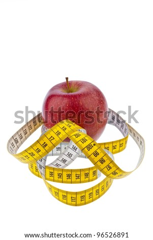 an apple and a tape measure for successful diet. on a white background