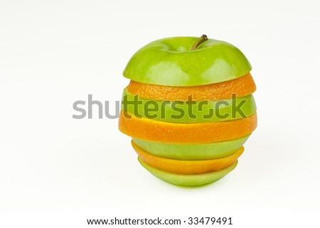 An apple and orange joined together with alternating slices