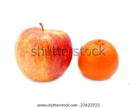 an apple and tangerine isolated on white