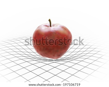 An apple bending spacetime - gravity concept - stock photo