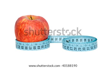 An apple with measuring tape isolated on white background - stock photo
