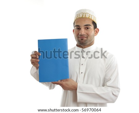 An arab italian mixed race businessman wearing traditional clothing is holding a booklet, message or brochure.  White background. - stock photo