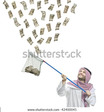 An Arab person with a fishing net catching money isolated on white background - stock photo