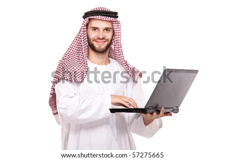 An arab person working on laptop isolated on white background