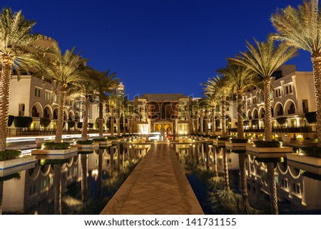 An arabian compound in Dubai line with palm trees. Image no 209. - stock photo