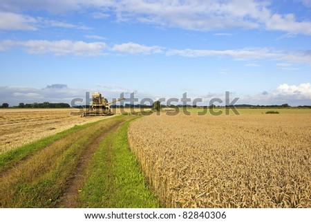 an arable landscape with an old yellow harvester in a stubble field under a summer sky