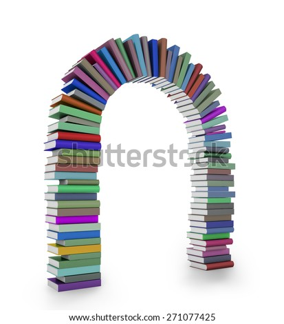 An arch formed by a stack of colorful books - stock photo